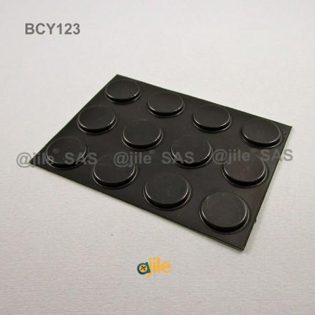 Piedino 20,6 x 3 mm cilindrico adesivo - NERO - Ajile