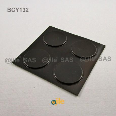 31.2 x 2.5 mm Zylindrisch selbsklebende antirutsch Gummifüsse - SCHWARZ - Ajile