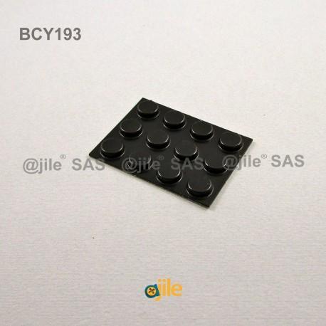 9.5 x 3.2 mm Zylindrisch selbsklebende antirutsch Gummifüsse - SCHWARZ - Ajile