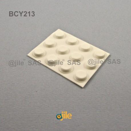 12.7 x 3.5 mm Zylindrisch selbsklebende antirutsch Gummifüsse - WEISS - Ajile