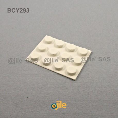 9.5 x 3.2 mm Zylindrisch selbsklebende antirutsch Gummifüsse - WEISS - Ajile