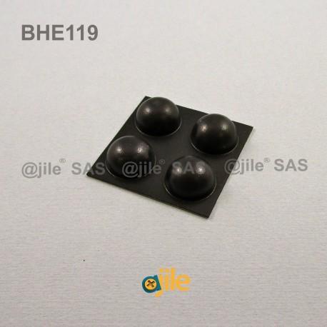 Bumper Stop diam. 18 mm Adhesive Dome BLACK Thickness 10 mm - dome-adhesive-bumper - ajile
