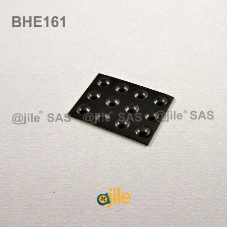 6.4 x 1.6 mm Kugelförmige selbsklebende antirutsch Gummifüsse - SCHWARZ - Ajile