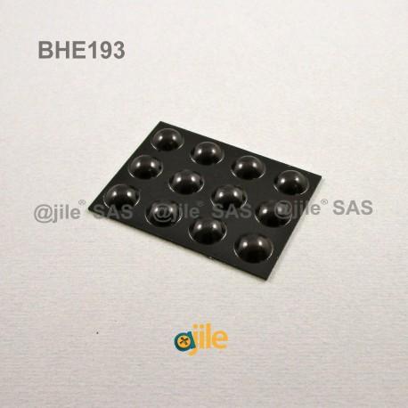 9.5 x 3.8 mm Kugelförmige selbsklebende antirutsch Gummifüsse - SCHWARZ - Ajile