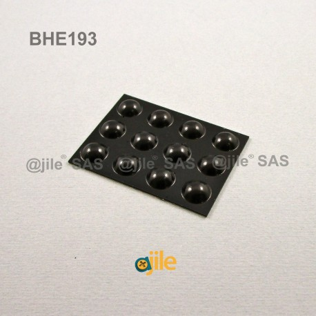 Bumper Stop diam. 10 mm (large) Adhesive Dome BLACK Thickness 4 mm - Ajile
