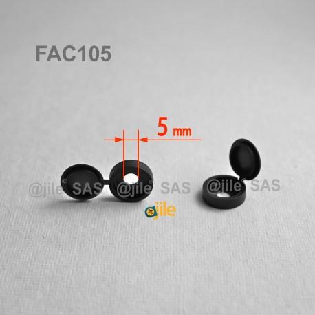 Diam. 5 mm screw hinged snap cover cap - BLACK - Ajile