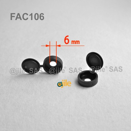 Diam. 6 mm screw hinged snap cover cap - BLACK - Ajile