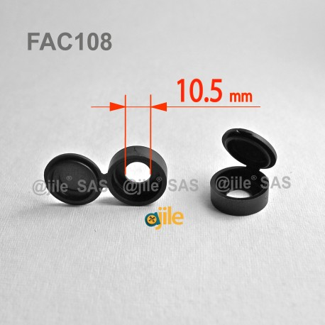 Diam. 8 - 10 mm screw hinged snap cover cap - BLACK - Ajile