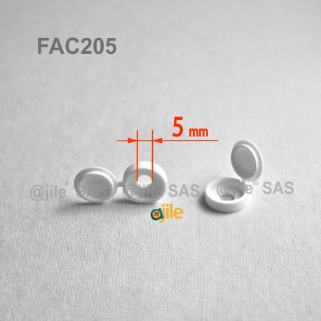 Tappo diam. 4 a 5 mm coprivite M5 con linguetta - BIANCO - Ajile