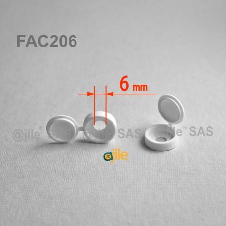 Tappo diam. 5 a 6 mm coprivite M6 con linguetta - BIANCO - Ajile