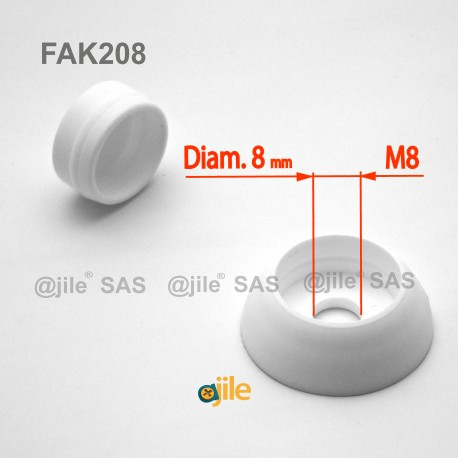 M8 diam. secure nut and bolt protection cap - WHITE - Ajile
