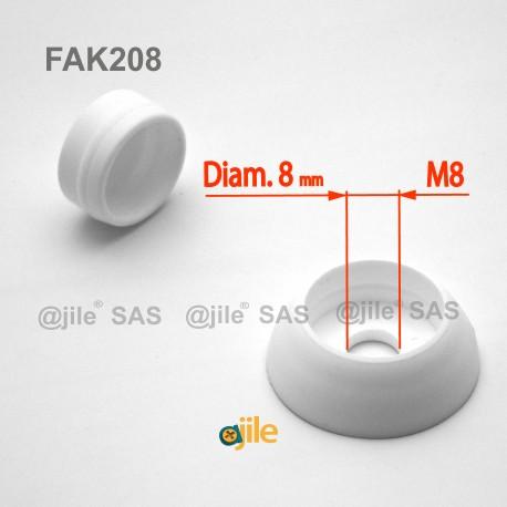 Robuste 8 mm diam. runde M8 Schrauben-Schutzabdeckungen - WEISS - Ajile
