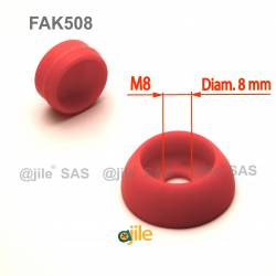 M8 diam. secure nut and bolt protection cap - RED - Ajile