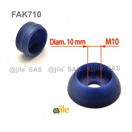 Pour vis M10 : Cache de sécurité pour vis écrou filetage diamètre 10 mm (M10)  - BLEU - Ajile