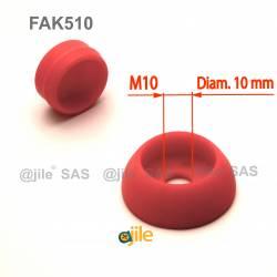 Pour vis M10 : Cache de sécurité Skiffy pour vis écrou filetage diamètre 10 mm (M10) - ROUGE