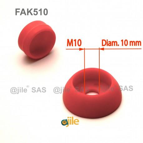 Robuste 10 mm diam. runde M10 Schrauben-Schutzabdeckungen - ROT - Ajile