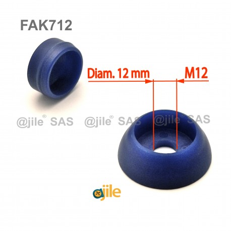Robuste 12 mm diam. runde M12 Schrauben-Schutzabdeckungen - BLAU - Ajile