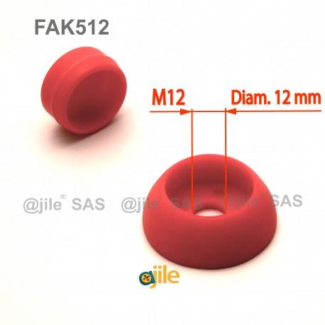 Pour vis M12 : Cache de sécurité pour vis écrou filetage diamètre 12 mm (M12) - ROUGE - Ajile