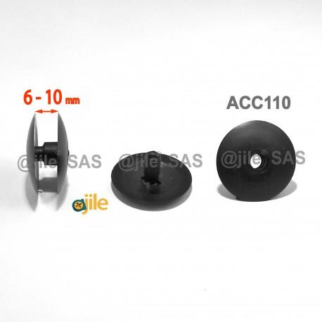 Montageklemmen 6 bis 10 mm dick - Kopf Diam. 30 mm - SCHWARZ - Ajile
