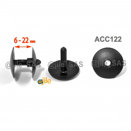 Thick. 6 to 22 mm ratcheting action rivet for carton/panel assembling - Plastic - BLACK - Ajile