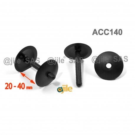 Clip Assemblage Panneaux épaisseur 20 à 40 mm NOIR tête diam. 30 mm - Ajile