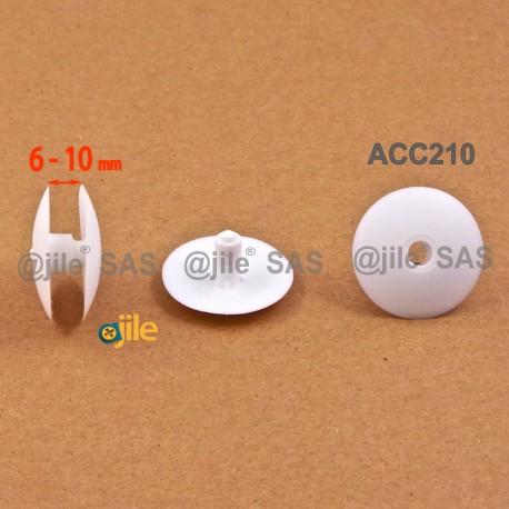 Montageklemmen 6 bis 10 mm dick - Kopf Diam. 30 mm - WEISS - Ajile