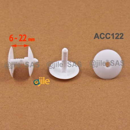 Clip Assemblage Panneaux épaisseur 6 à 22 mm BLANC tête diam. 30 mm - Ajile