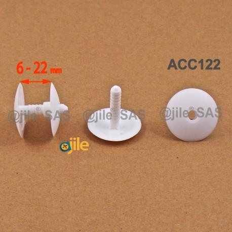 Montageklemmen 6 bis 22 mm dick - Kopf Diam. 30 mm - WEISS - Ajile