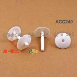 Clip Assemblage Panneaux épaisseur 20 à 40 mm BLANC tête diam. 30 mm - Ajile 5