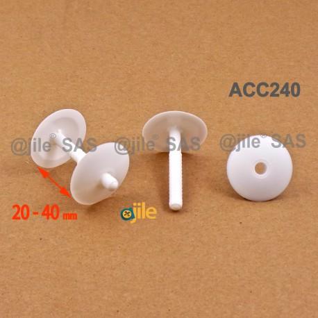 Clip Assemblage Panneaux épaisseur 20 à 40 mm BLANC tête diam. 30 mm - Ajile