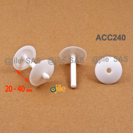 Thick. 20 to 40 mm ratcheting action rivet for carton/panel assembling - Plastic - WHITE - Ajile
