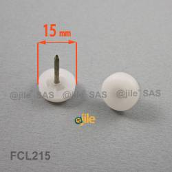 15 mm Plastic nail on furniture glide WHITE