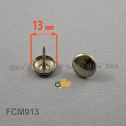 Patin glisseur diam. 13 mm à clouer en acier nickelé