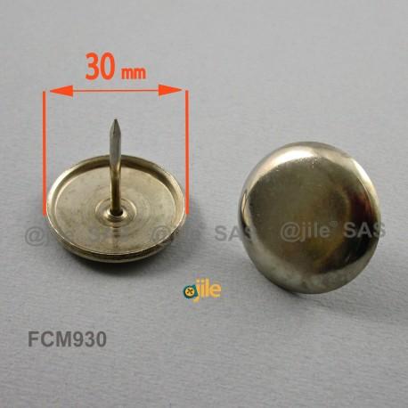 Patin glisseur diam. 30 mm à clouer en acier nickelé - Ajile