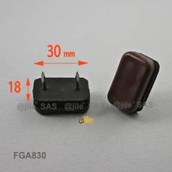 30 x 18 mm Dämpfend rechteck Kunststoff Nagelgleiter mit 2 Stifte BRAUN