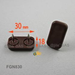 30 x 18 mm Rechteck Kunststoff Nagelgleiter mit 2 Stifte BRAUN