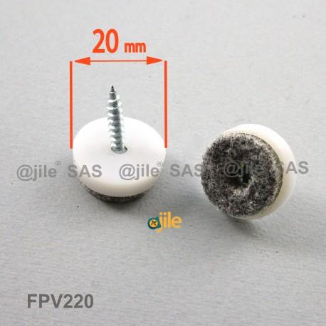 Patin en feutre diam. 20 mm à visser, base en plastique blanc, feutre gris - Ajile