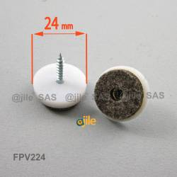 24 mm. Kunststoff Schraubengleiter WEISS mit graue Filzgleitfläche.