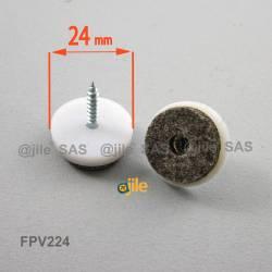 Patin en feutre diam. 24 mm à visser, base en plastique blanc, feutre gris