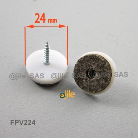 Patin en feutre diam. 24 mm à visser, base en plastique blanc, feutre gris - Ajile