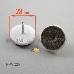 28 mm diameter screw-on WHITE plastic felt glide