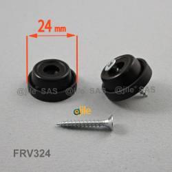 Pied anti-dérapant diam. 24 mm base plastique à visser NOIR