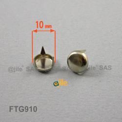 Patin glisseur diamètre 10 mm à trois griffes en acier nickelé
