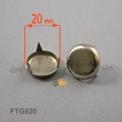 Patin glisseur diamètre 20 mm à trois griffes en acier nickelé
