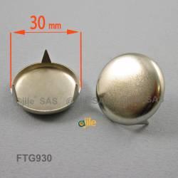 Patin glisseur diamètre 30 mm à trois griffes en acier nickelé