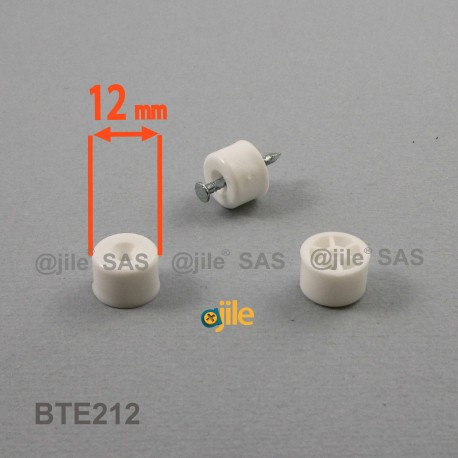 Taquet plastique rond diam. 12 mm pour étagère BLANC - Ajile