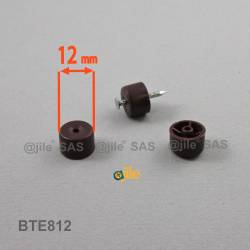 Reggimensola rotonda di diam. 12 mm in plastica con chiodo MARRONE