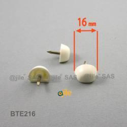 Taquet plastique rond diam. 16 mm avec méplat pour étagère BLANC