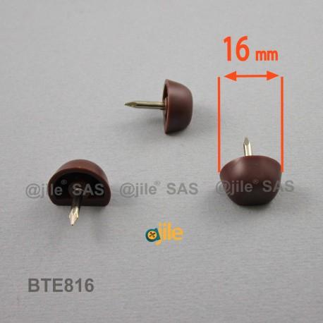 Taquet plastique rond diam. 16 mm avec méplat pour étagère BRUN - Ajile