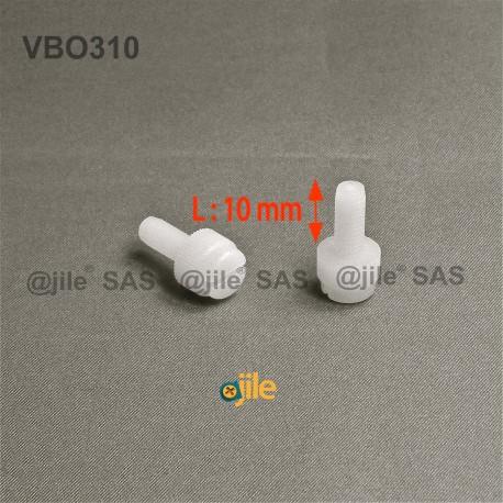 M3x10 : Vis plastique moletée fendue diam. M3 longueur:10 mm - Ajile